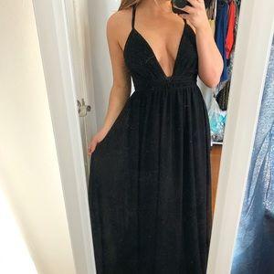 Lulu's Black Open Back Maxi Dress